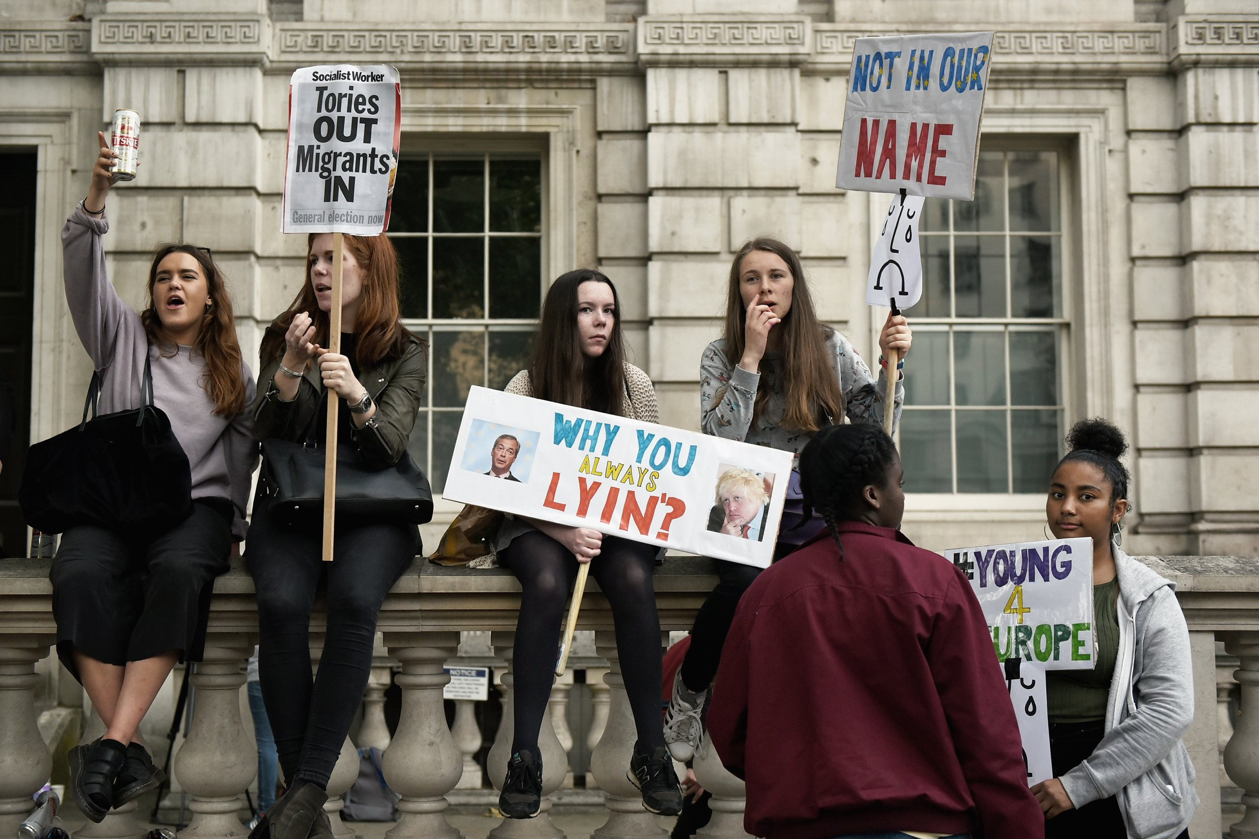 Young anti-Brexit protesters