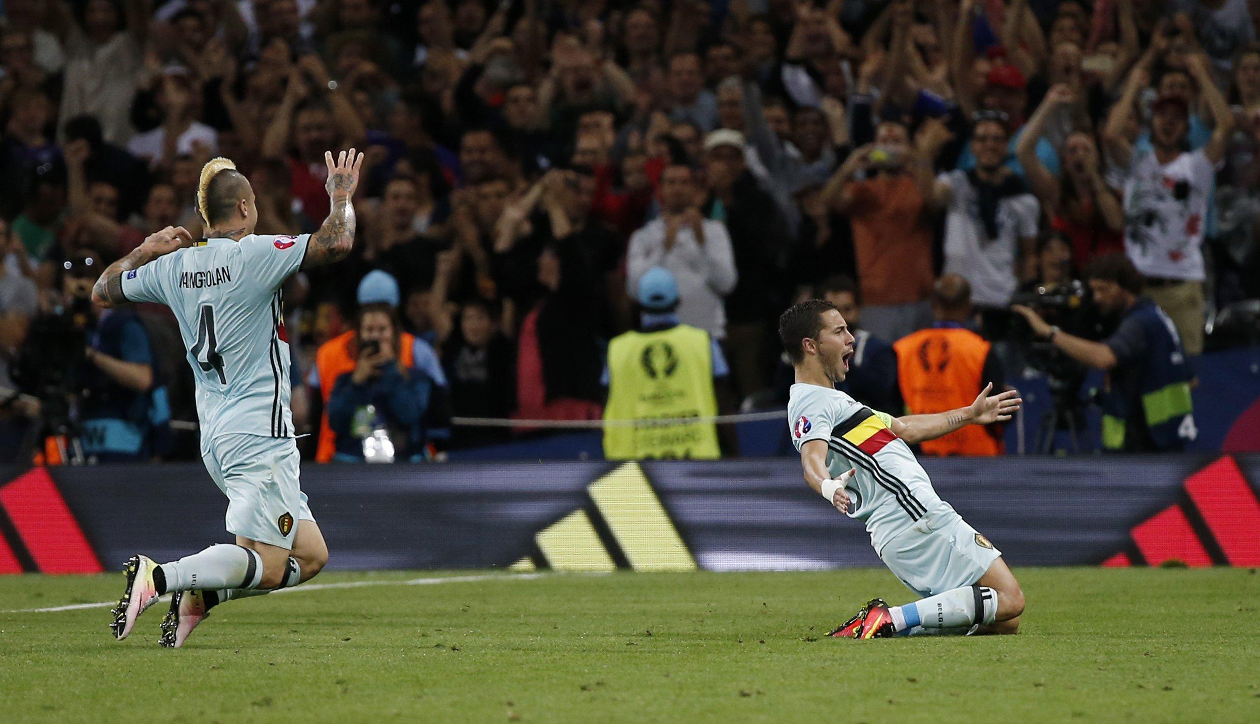 Belgium players Radja Nainggolan, left, and Eden Hazard.