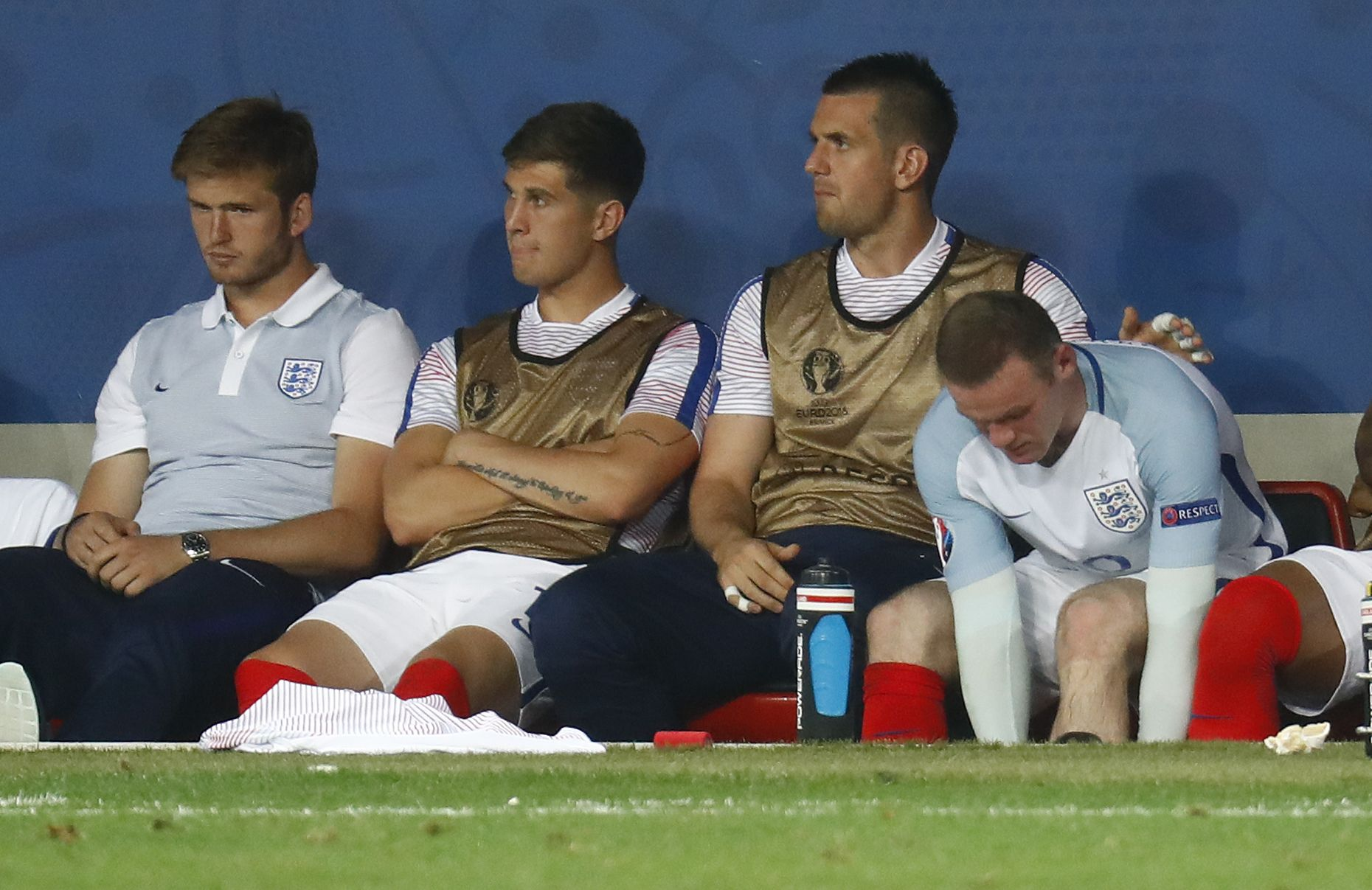England captain Wayne Rooney, far right.