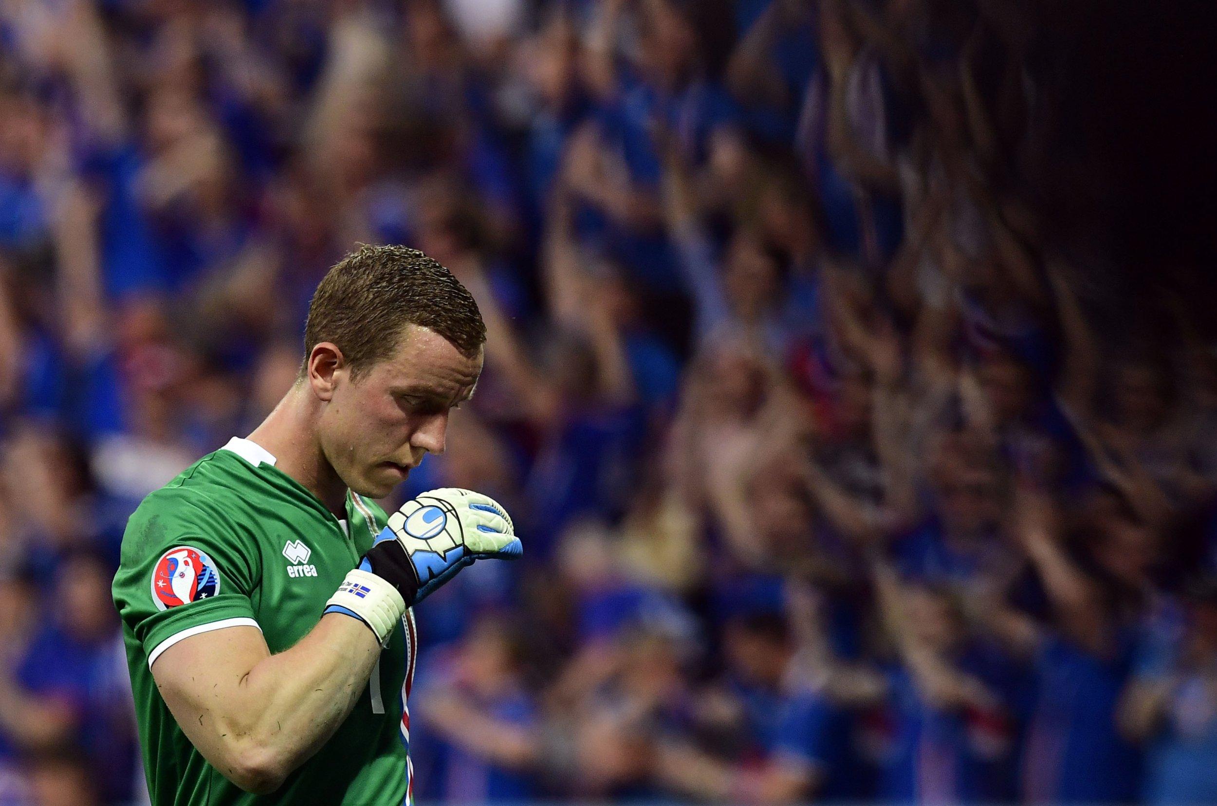 Iceland goalkeeper Hannes Halldorsson.