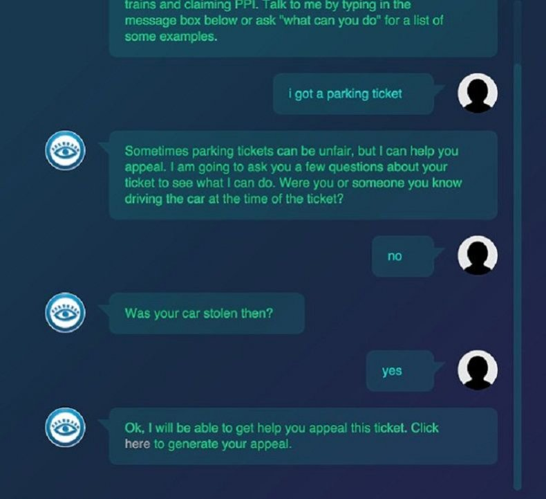 donotpay chatbot robot lawyer parking ticket
