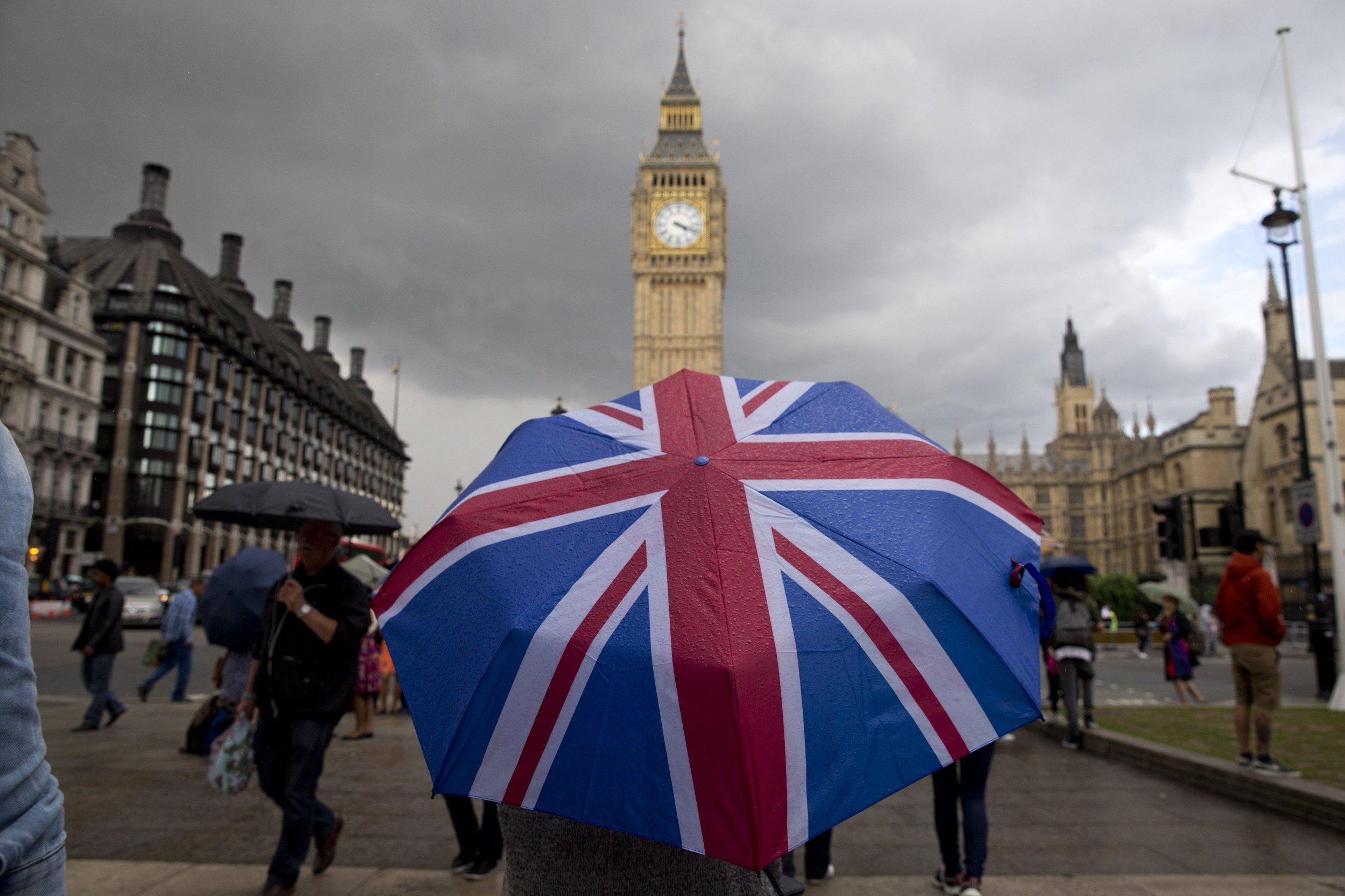Pedestrian under Union Jack umbrella