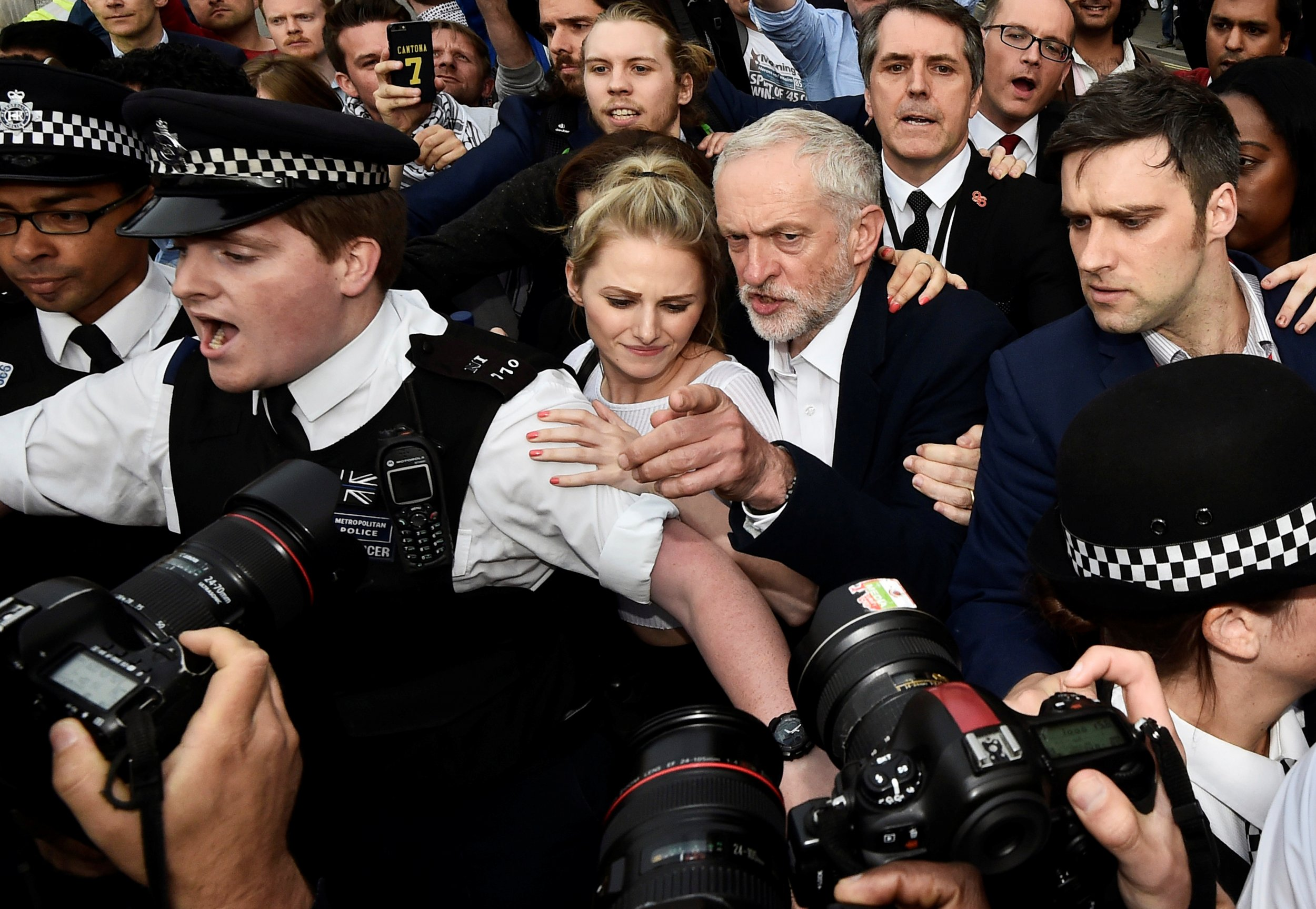 Jeremy Corbyn arrives to rally