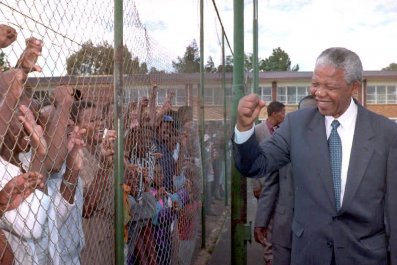Nelson Mandela campaigning in South Africa