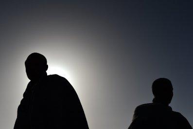 African migrants on board an Italian rescue vessel