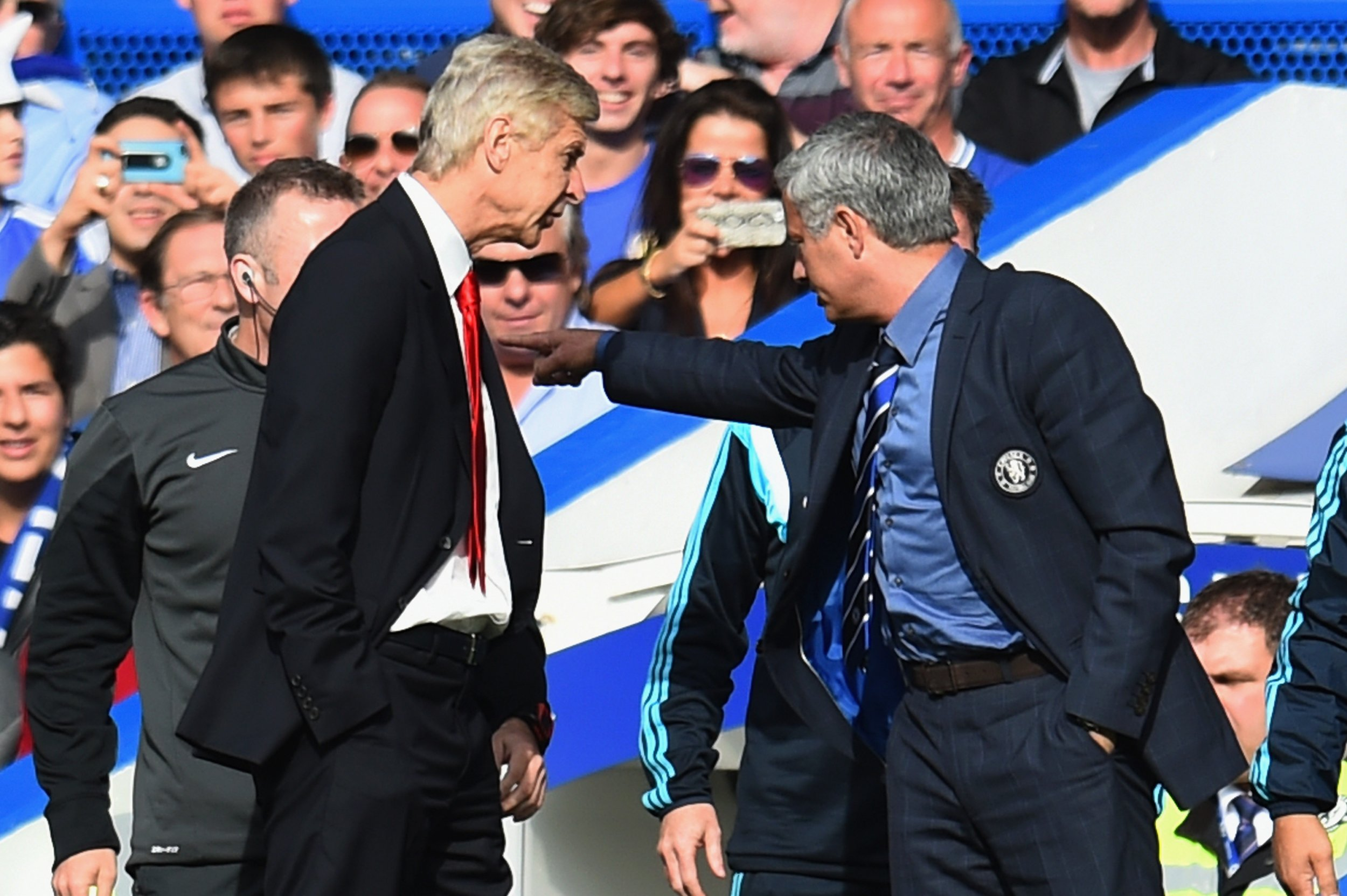 Arsene Wenger, left, with Jose Mourinho