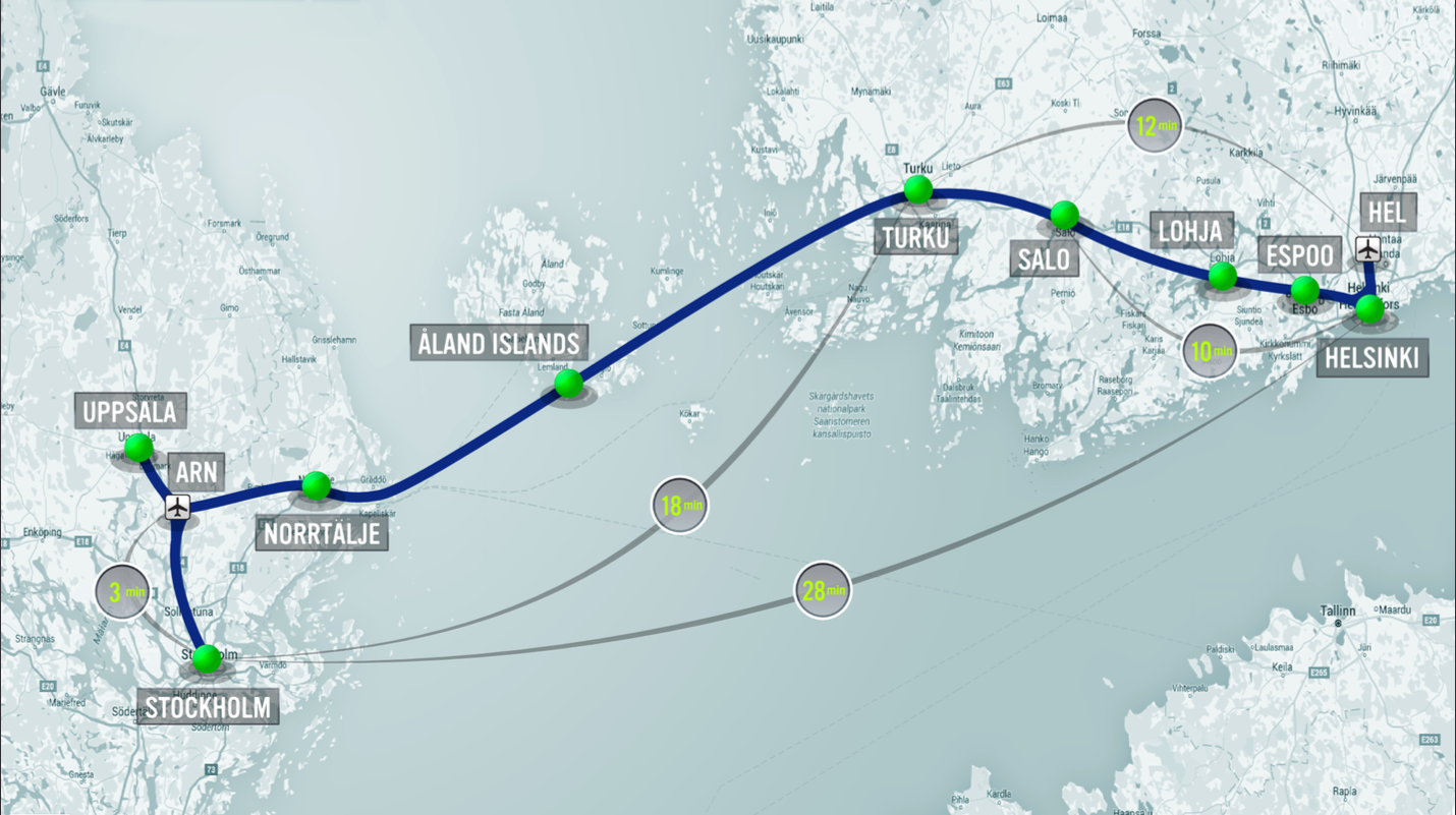 European hyperloop could go from helsinki to stockholm in 28 mins hyperloop one europe map helsinki publicscrutiny Image collections