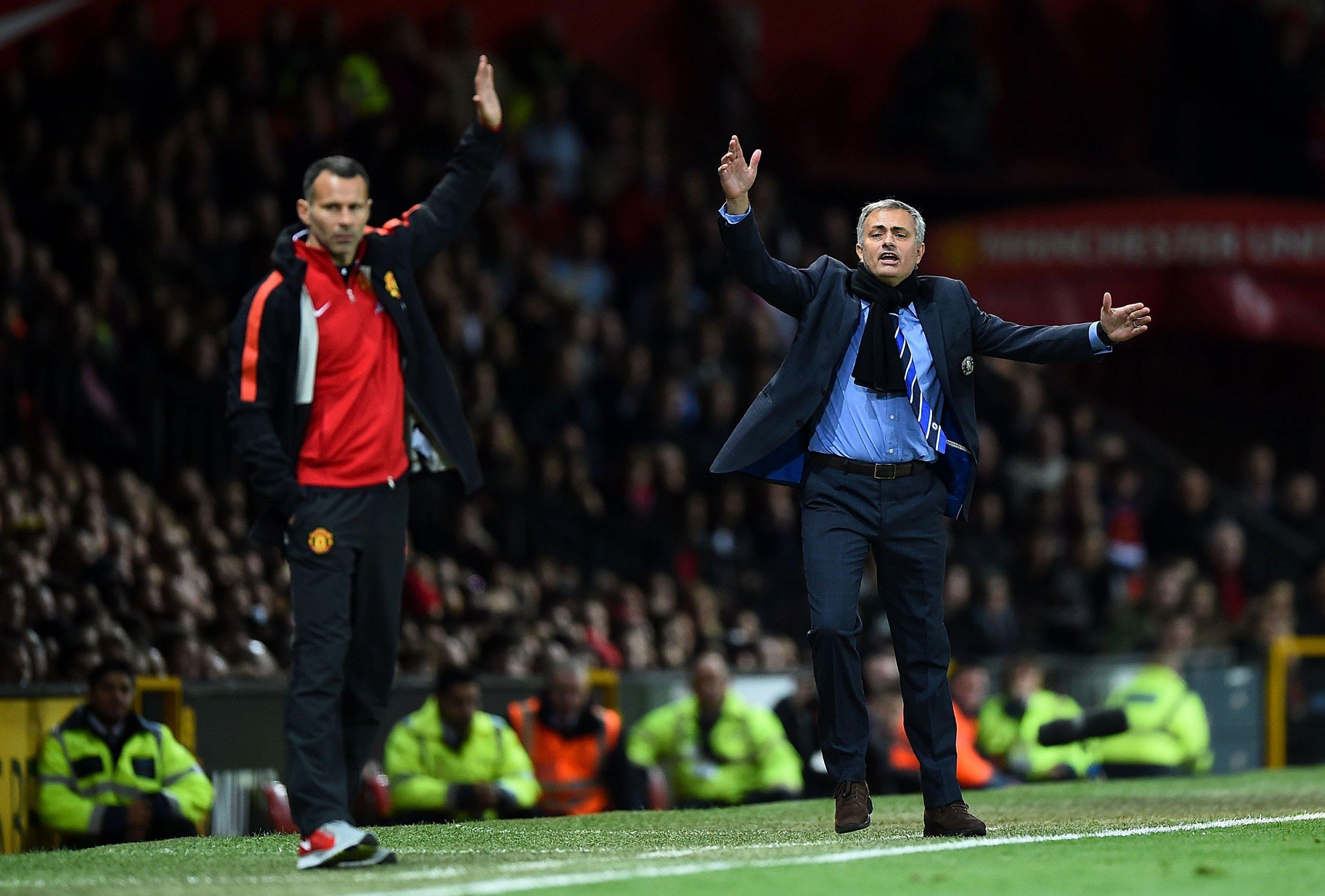 Ryan Giggs, left, with Jose Mourinho.