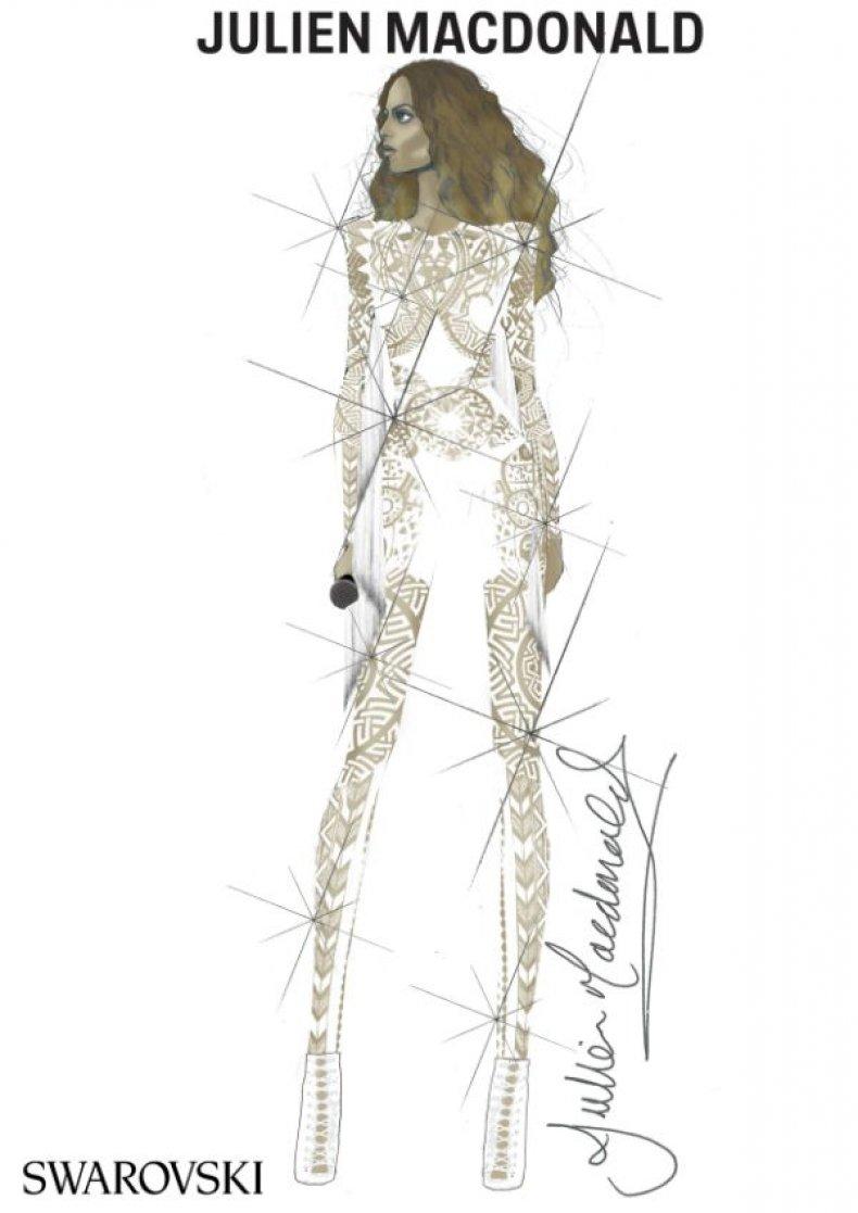 Beyoncé white bodysuit by Julien Macdonald