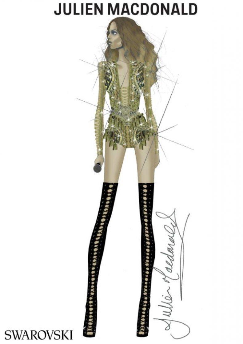 Beyoncé gold bodysuit by Julien Macdonald