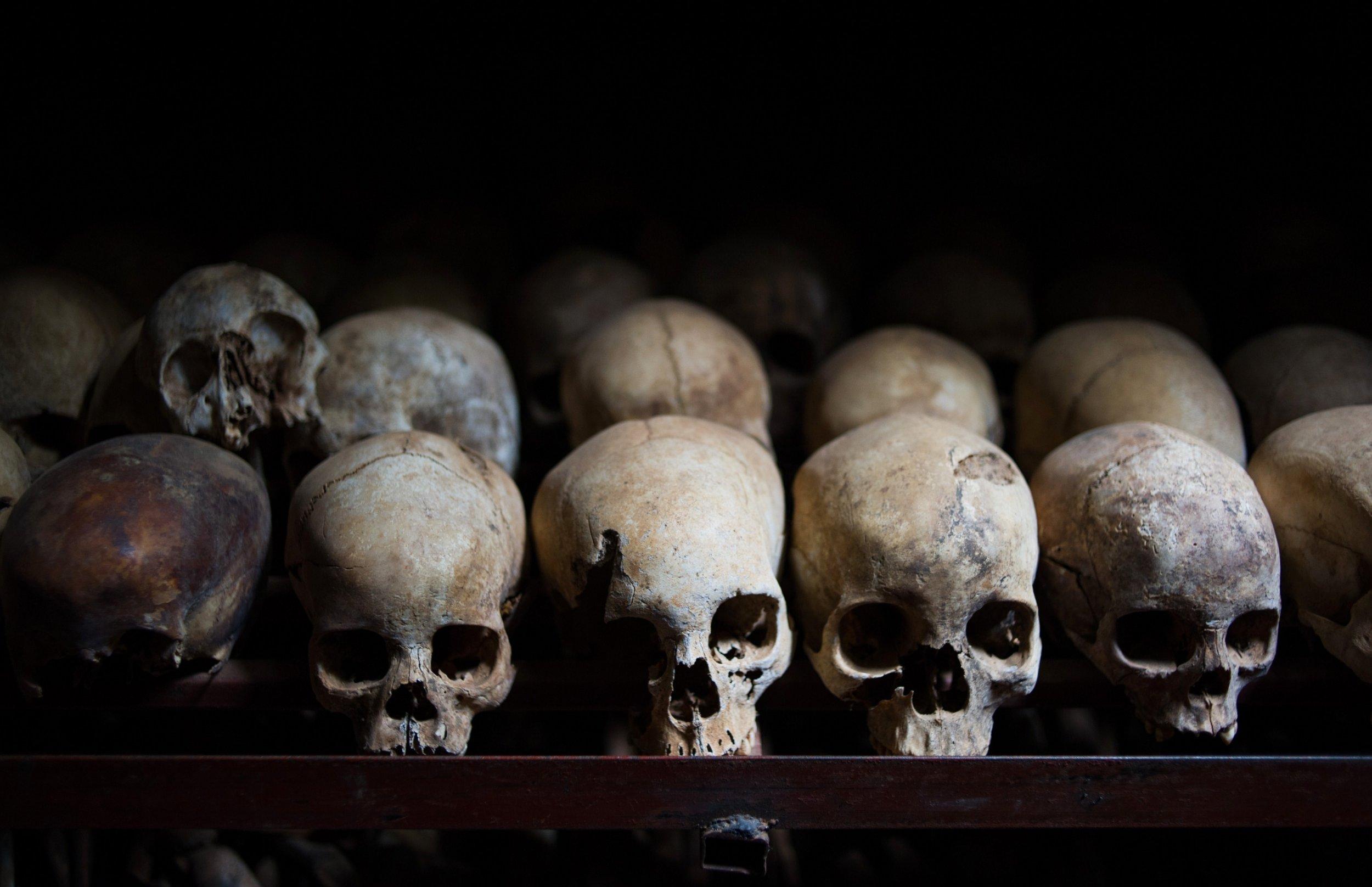 Rwandan genocide victims skulls