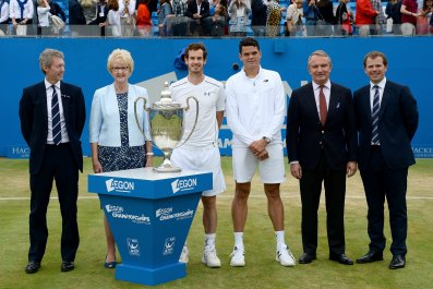 Andy Murray and Milos Raonic, right and left center.