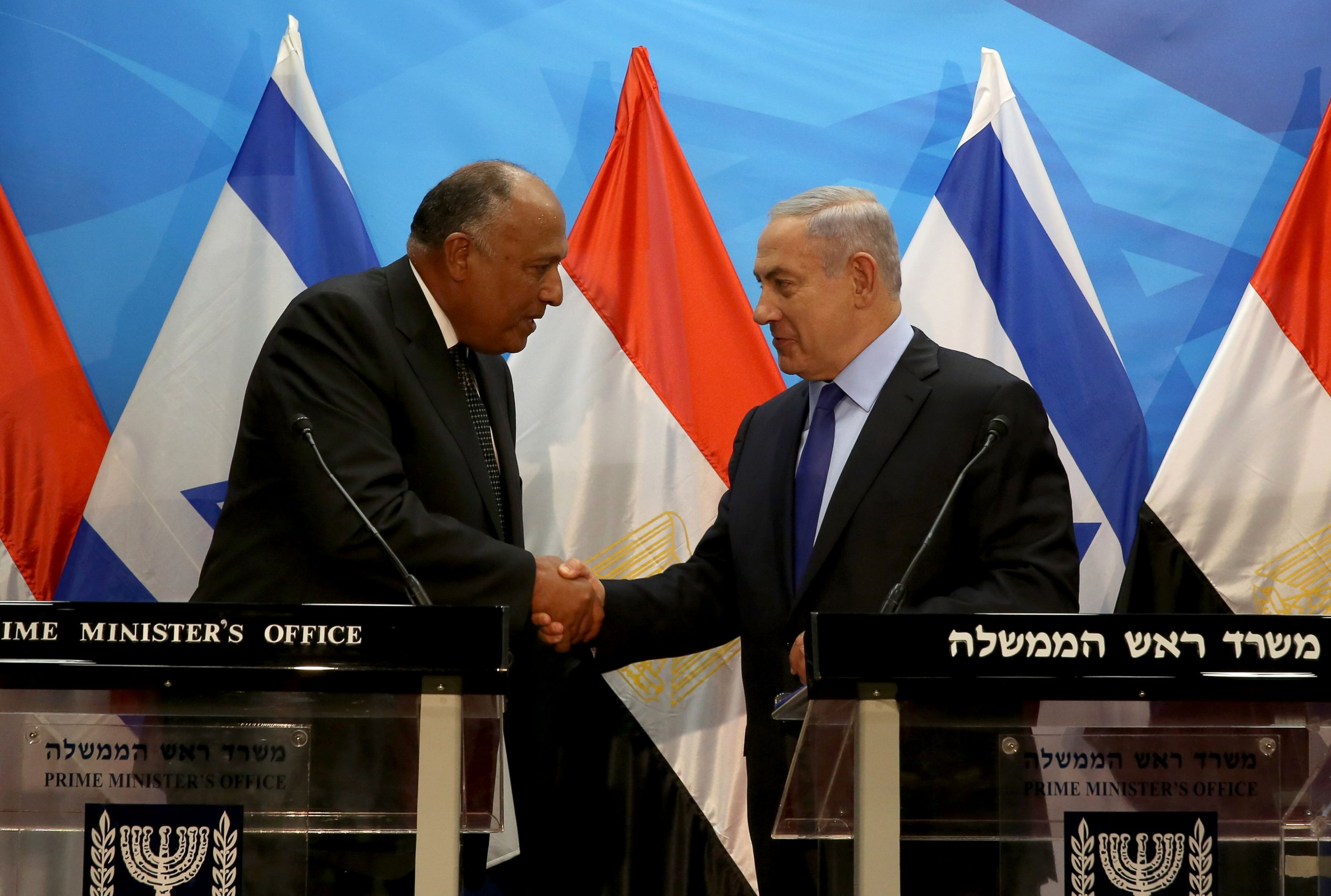 Benjamin Netanyahu and Sameh Shoukry