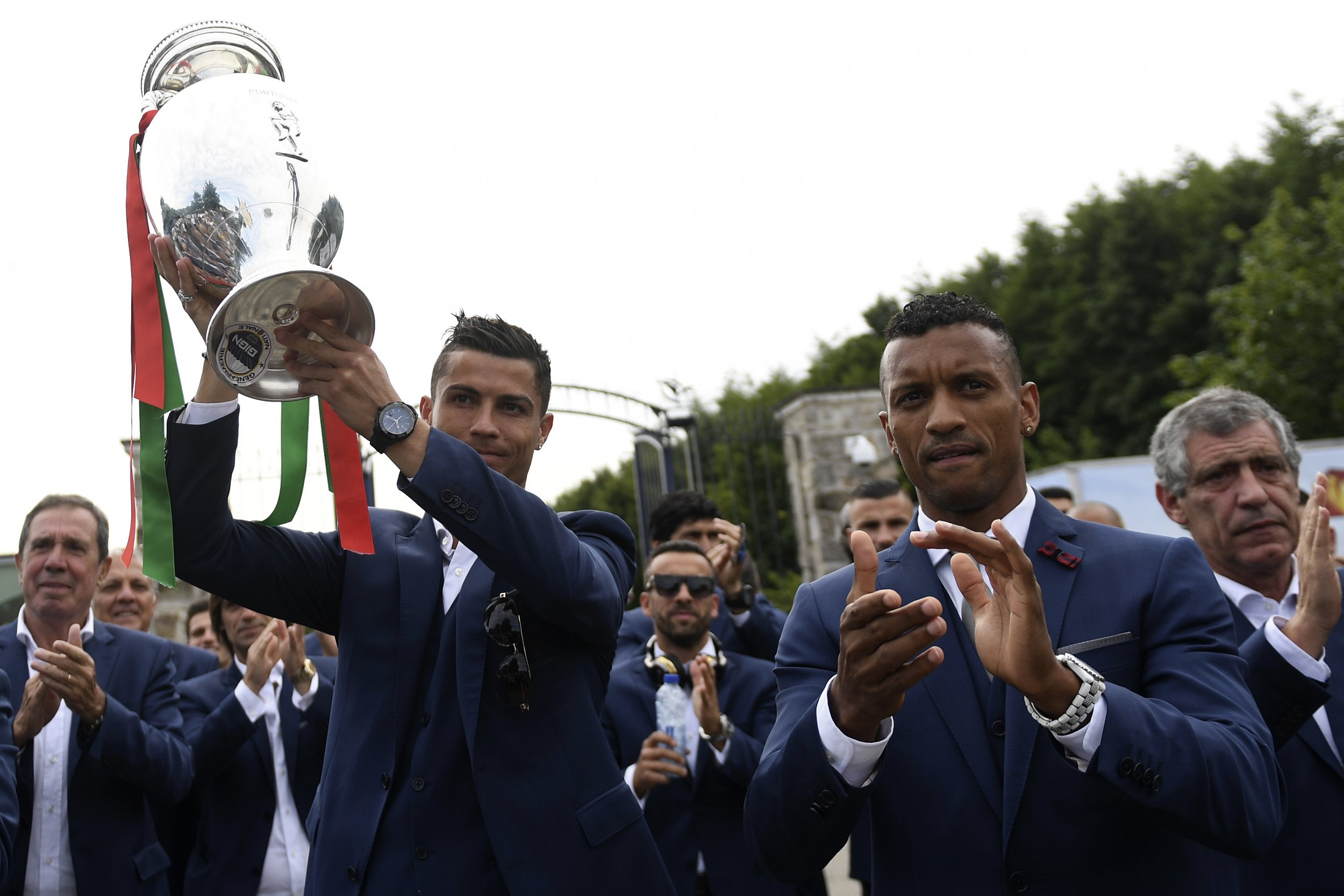 Cristiano Ronaldo, left, with the Euro 2016 trophy.