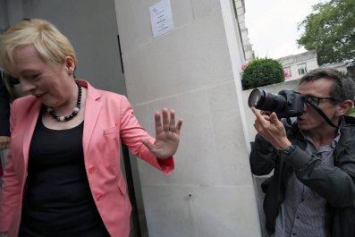 Angela Eagle arrives at press conference