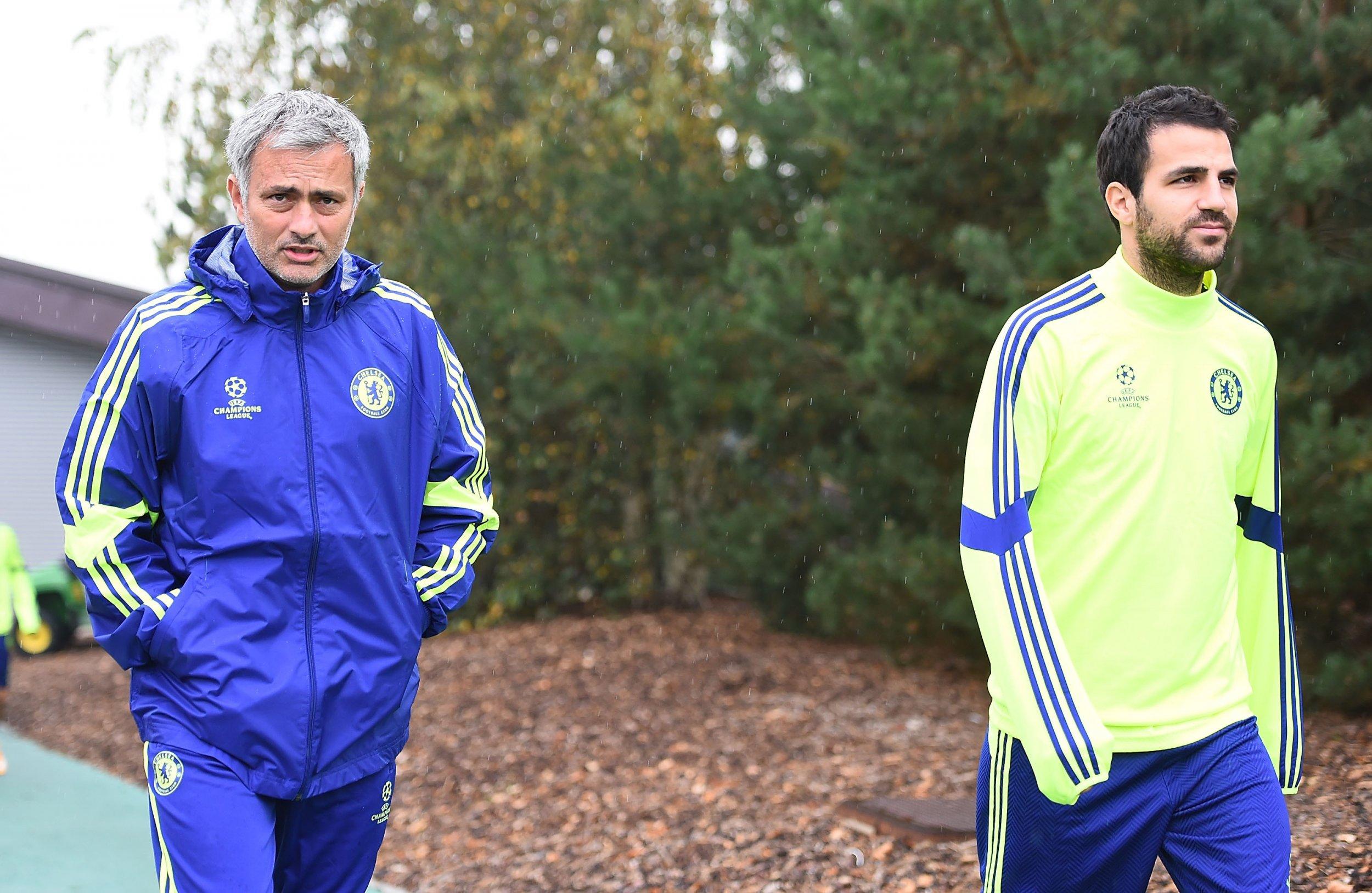 Jose Mourinho, left, with Cesc Fabregas.