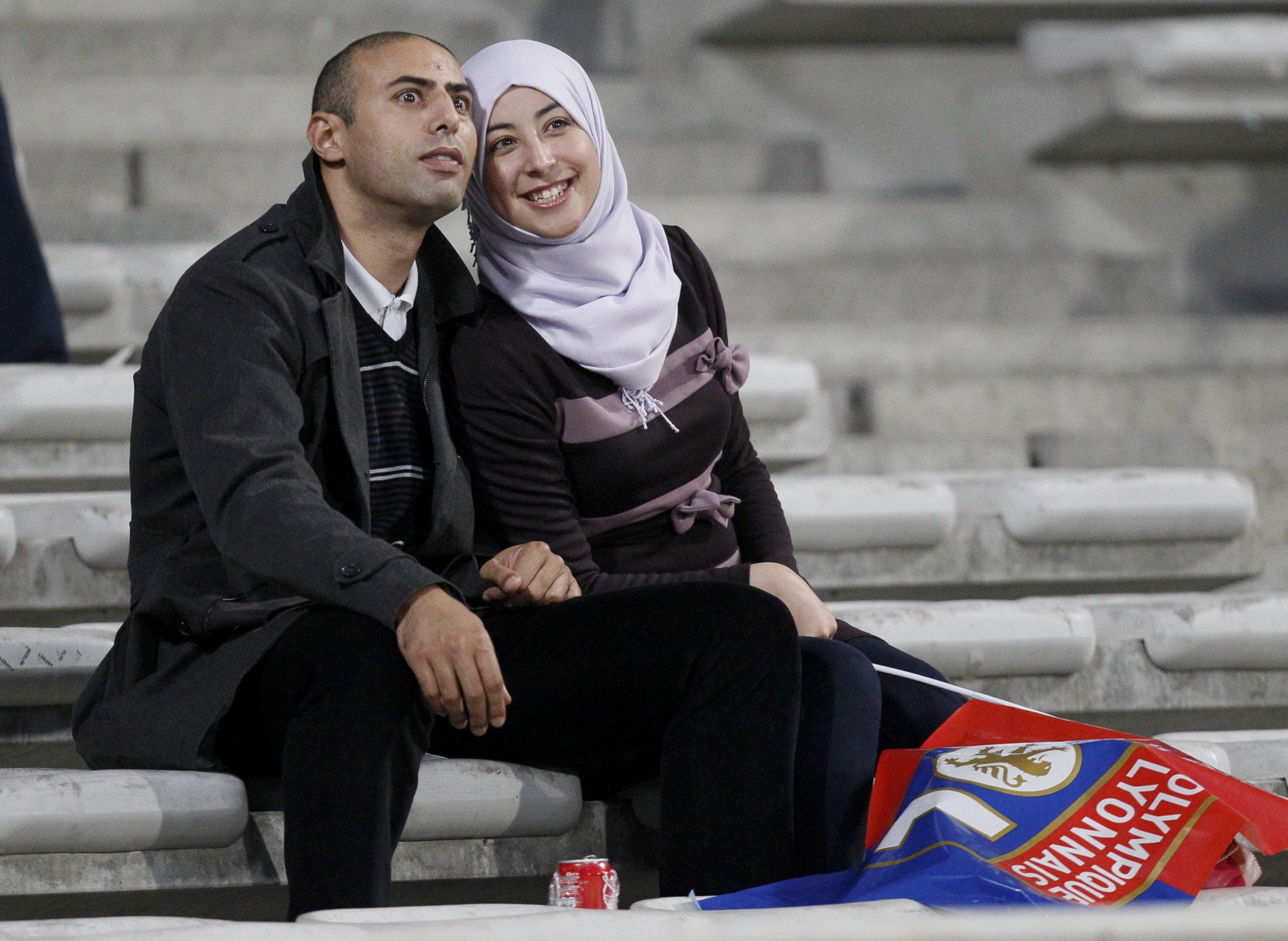 Football fans attend Lyon match, France