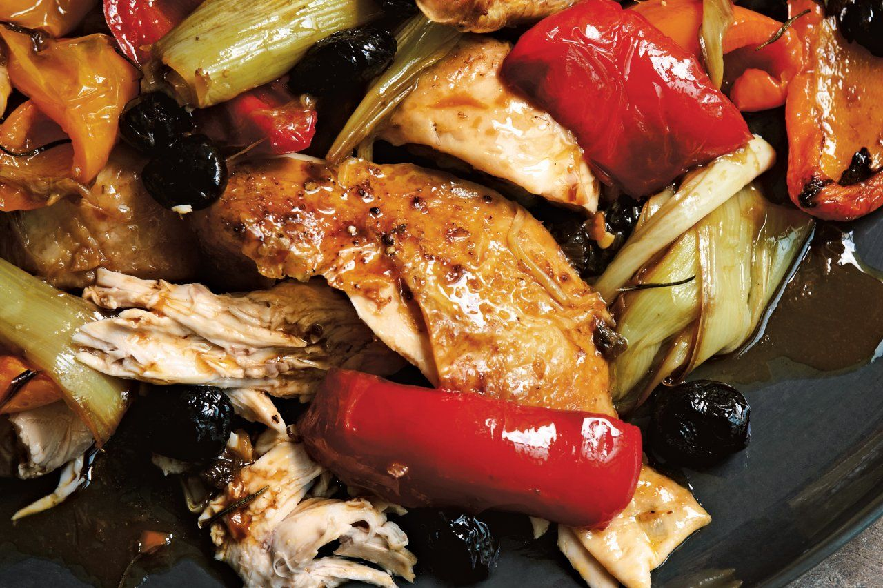 Italian Roast Chicken with Bell Peppers & Olives