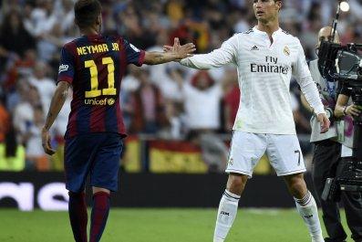 Neymar, left, with Cristiano Ronaldo.