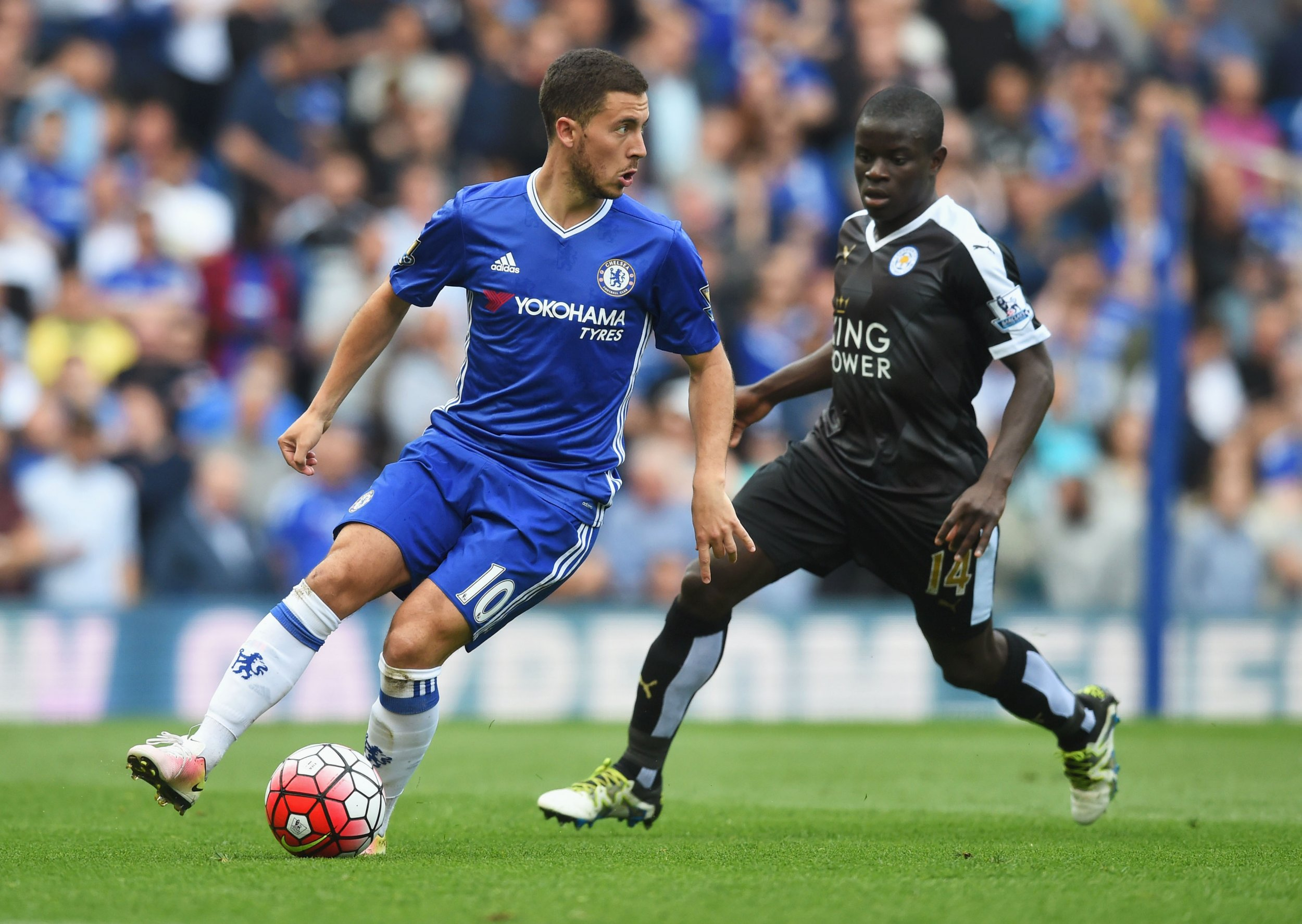 N'Golo Kante, right, formerly of Leicester City