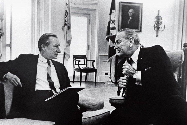 Newsweek's Charles (Chuck) Roberts with President Johnson