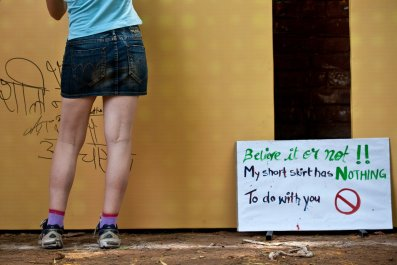 A woman in New Delhi during a protest against sexual harassment