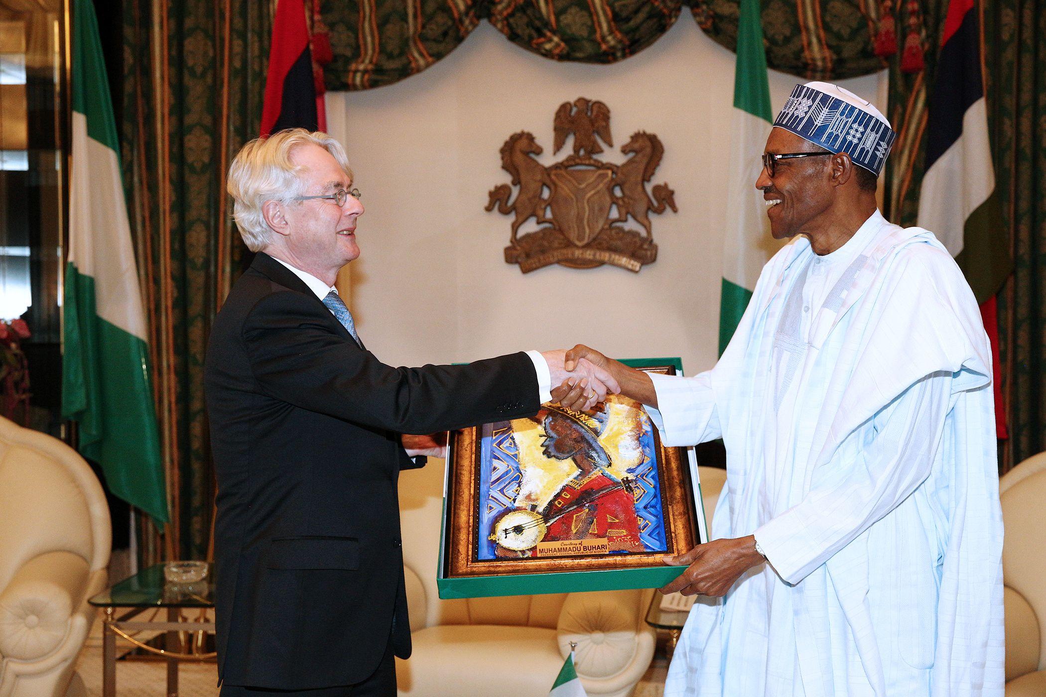 Buhari with outgoing German ambassador in Nigeria