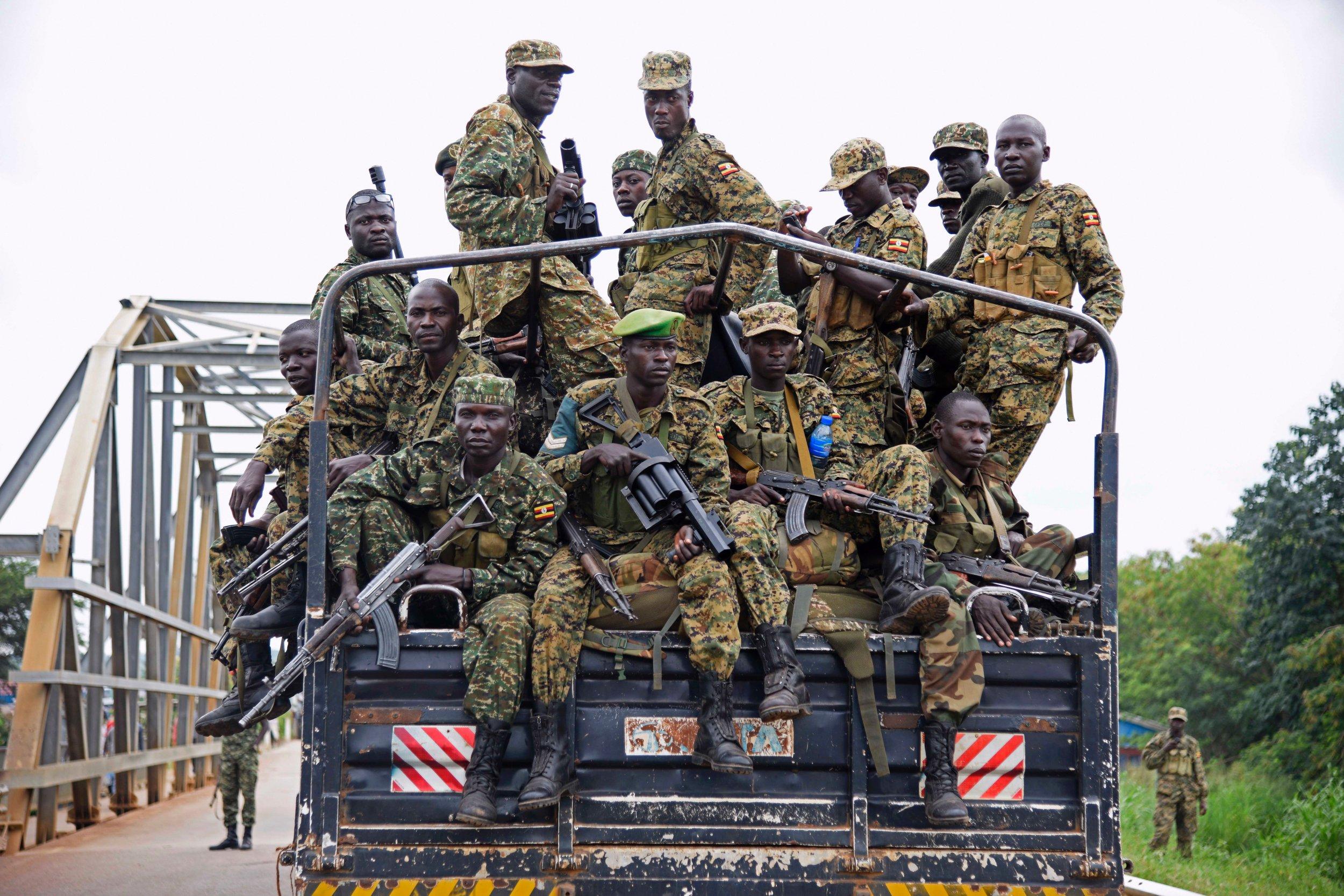 Ugandan soldiers traveling to South Sudan