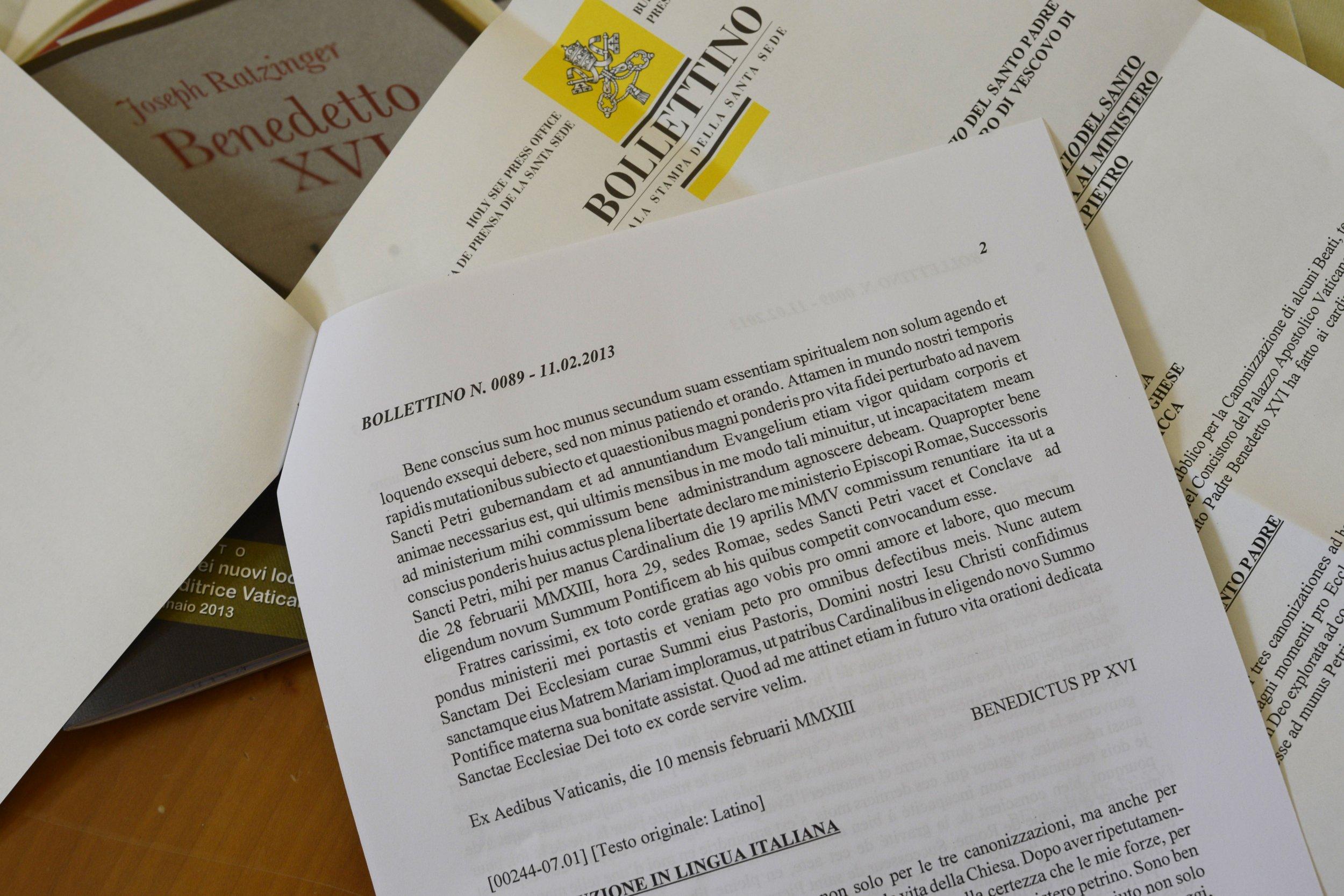 Pope Benedict XVI resignation Latin text