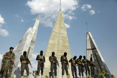 Kurdish-Arab coalition fighters in Manbij, Syria