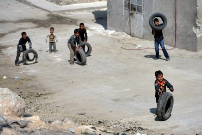 Aleppo Syria Burning Tires