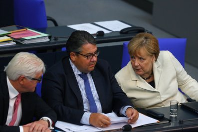 Sigmar Gabriel and Angela Merkel