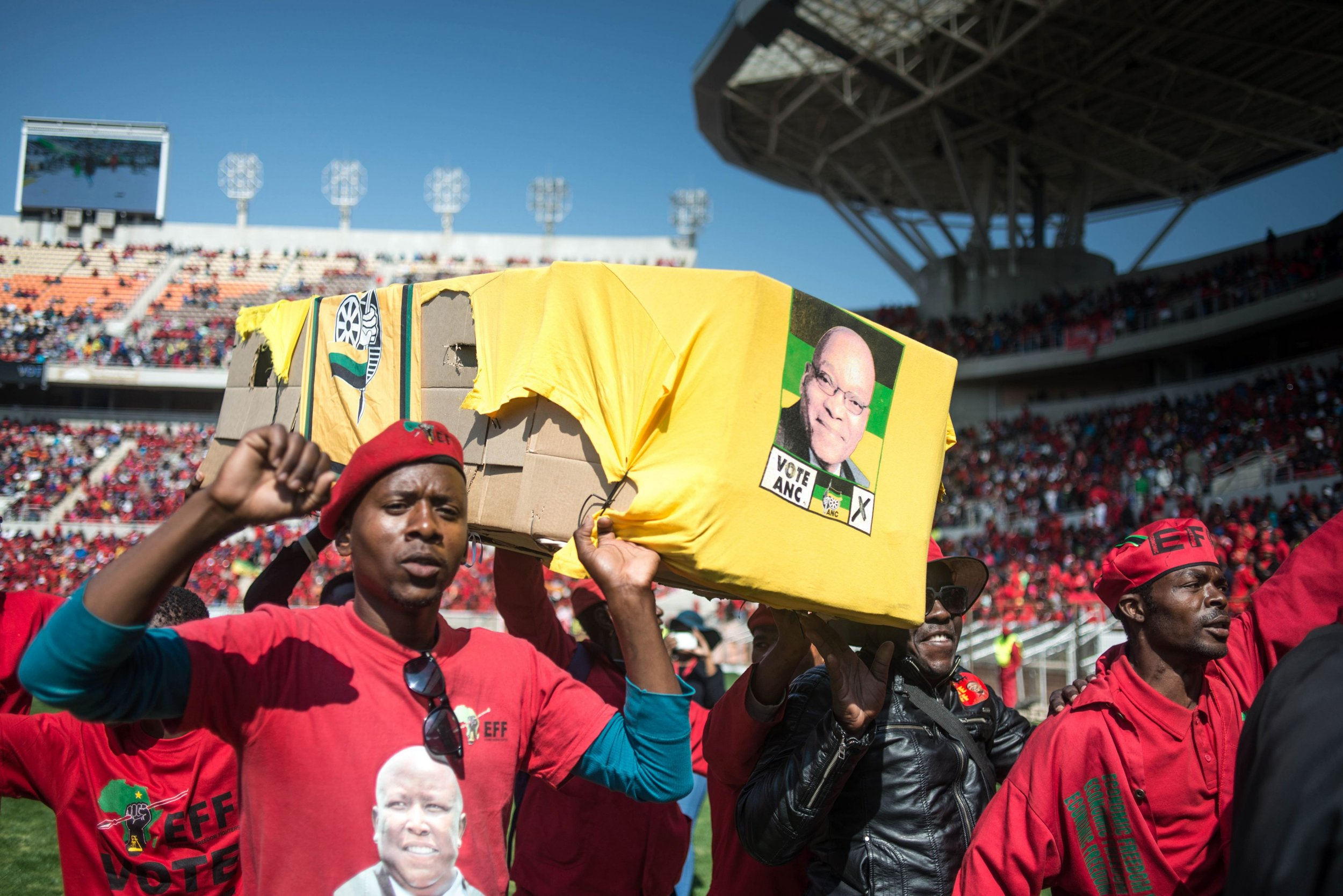 EFF supporters with ANC coffin