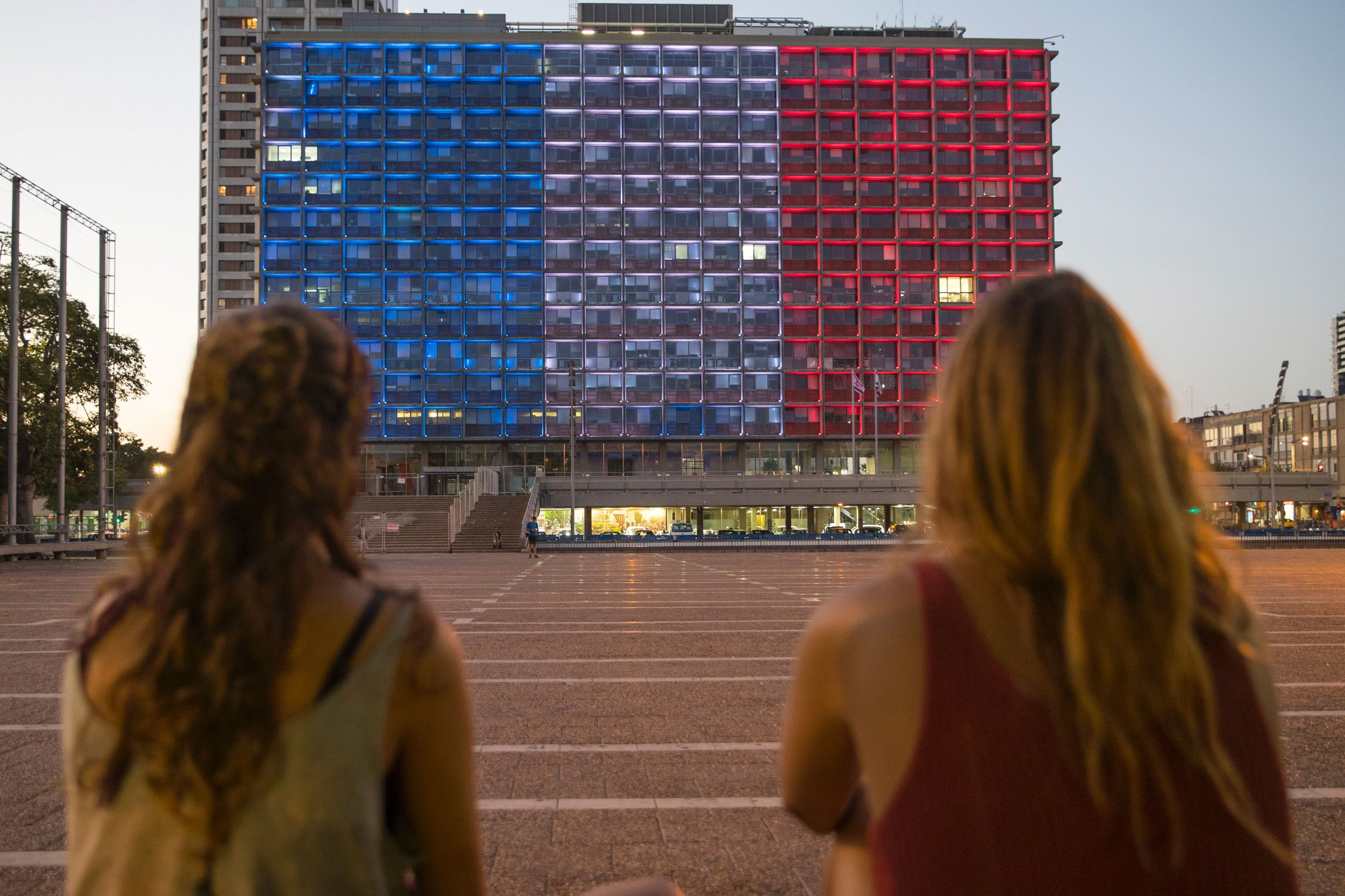 French nationals from Nice look at Tel Aviv City Hall