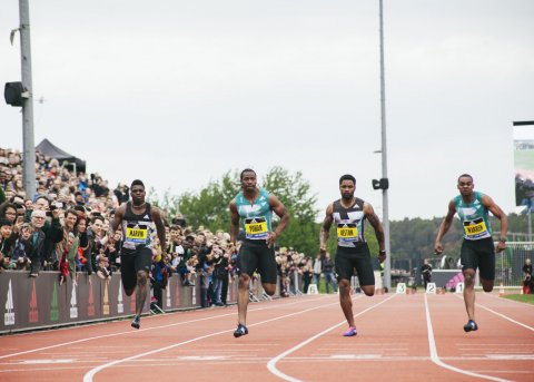 Yohan Blake during a 100-meter race