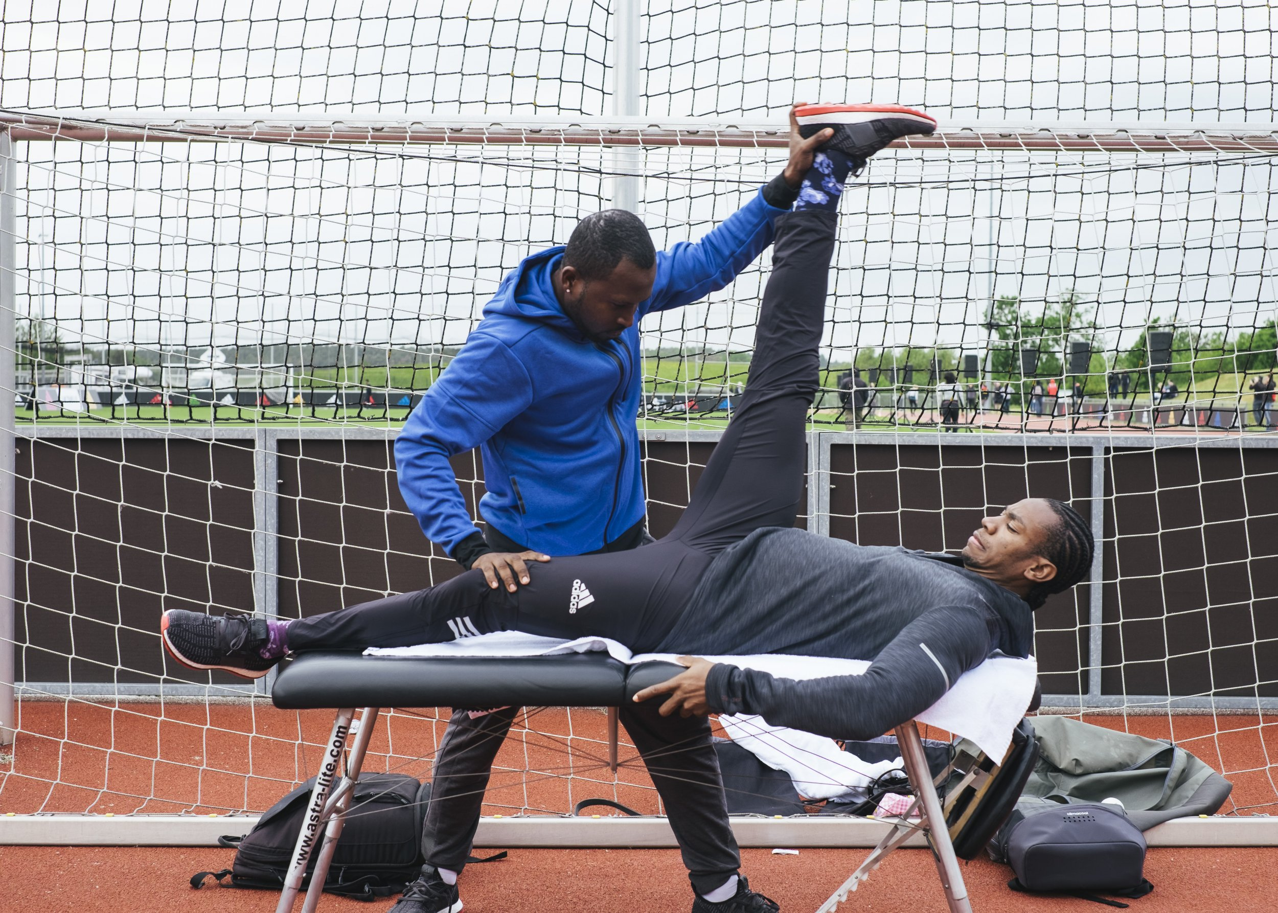 Yohan Blake with his physiotherapist Shaun Kettle