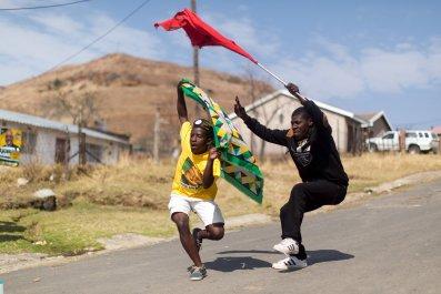 ANC and SACP supporters dance