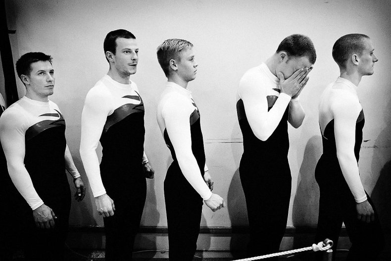Daniel Rye's gymnast teammates