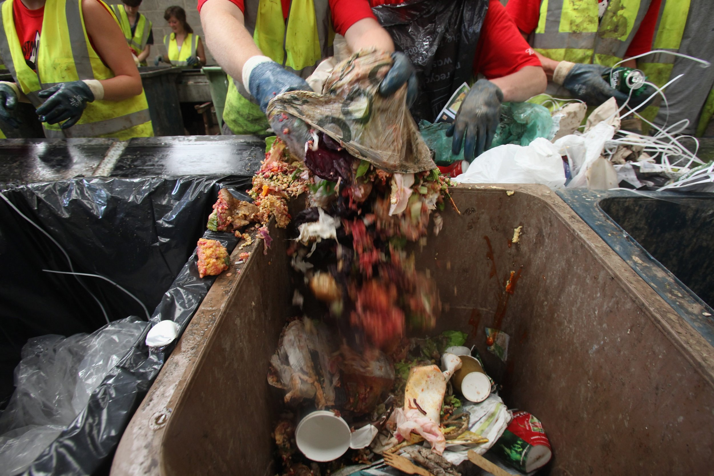 Rubbish being recycled