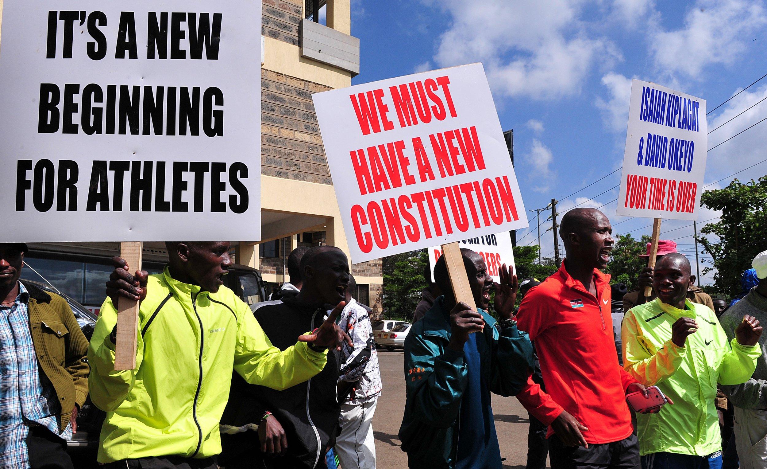 Kenyan athletes during a protest in Nairobi.