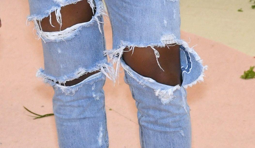 ripped jeans kanye west self-healing fabric