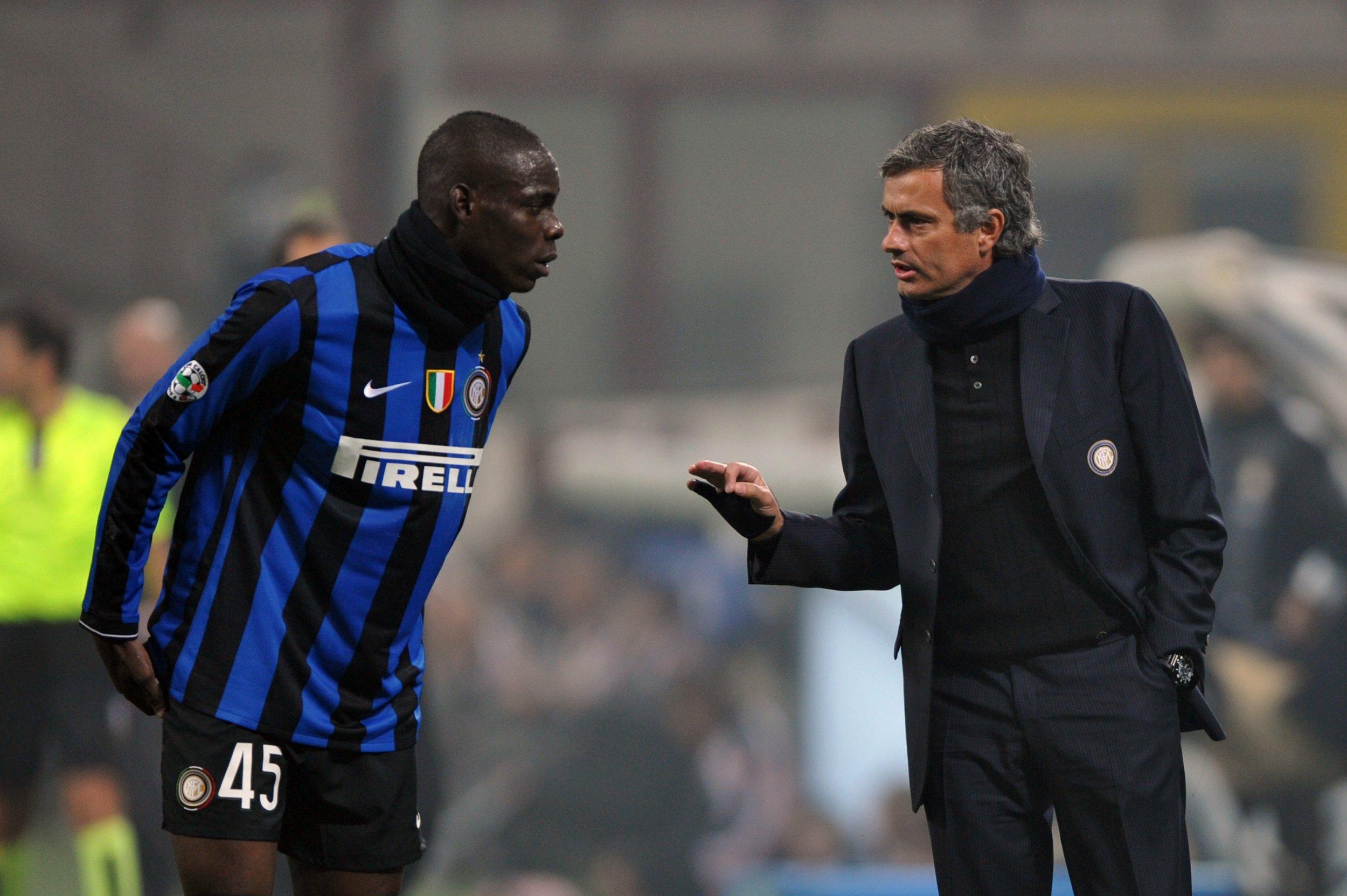 Mario Balotelli, left, with Jose Mourinho