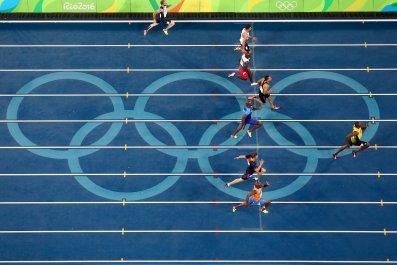 Usain Bolt, far right, wins the 200 meters at the Rio de Janeiro Olympics.