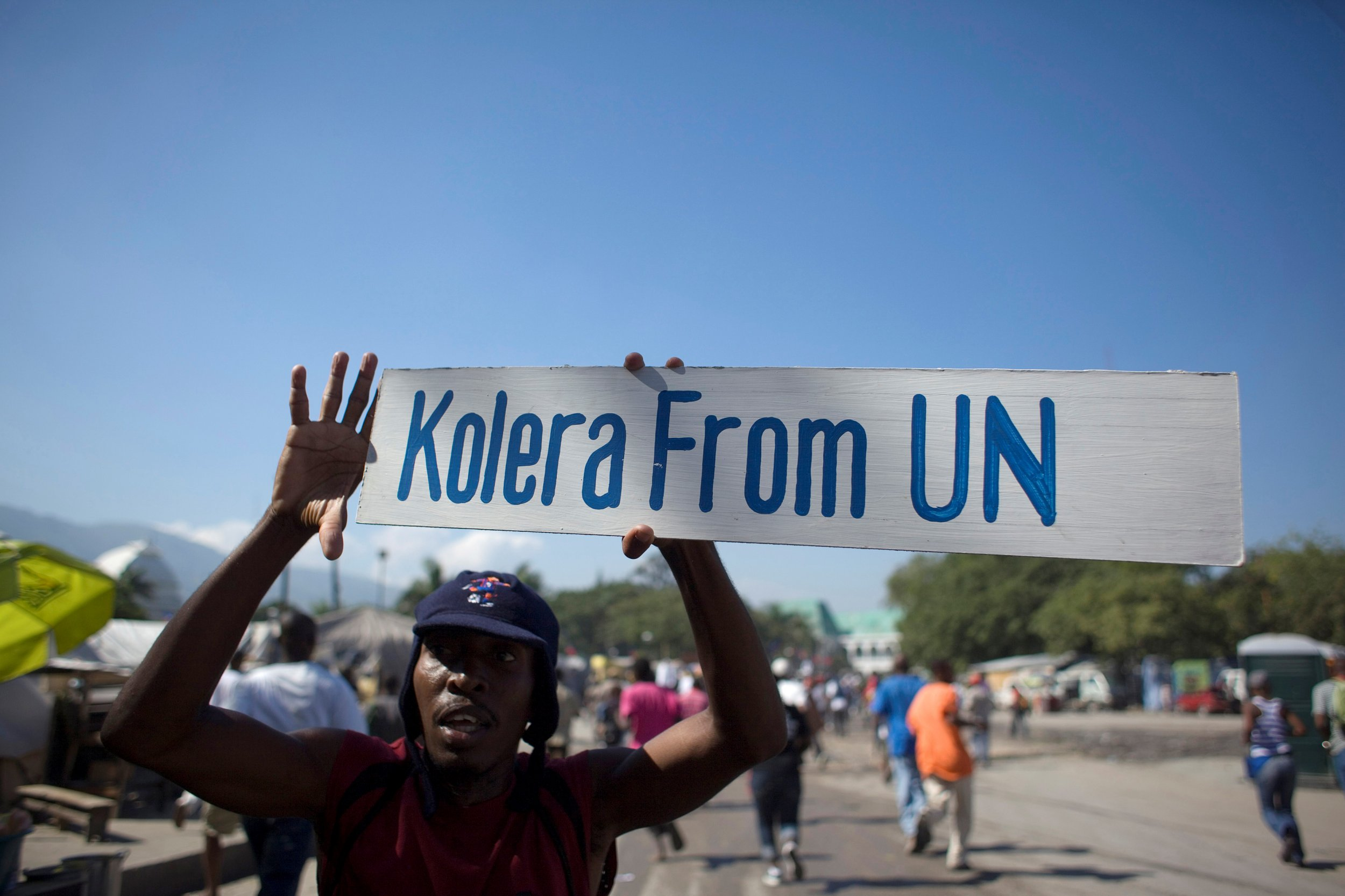 Protester against U.N. in Haiti