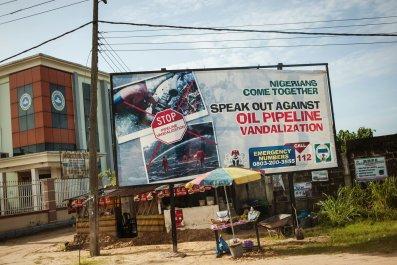 Oil vandalization advertizing board