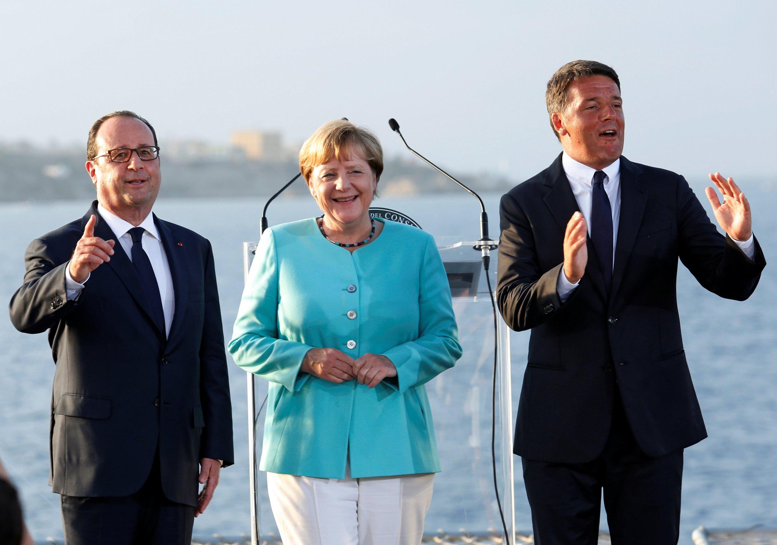 Matteo Renzi, Angela Merkel and Francois Hollande