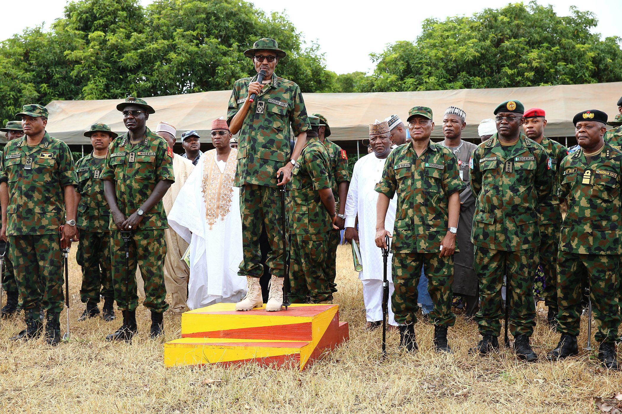 Muhammadu Buhari and Nigerian soldiers