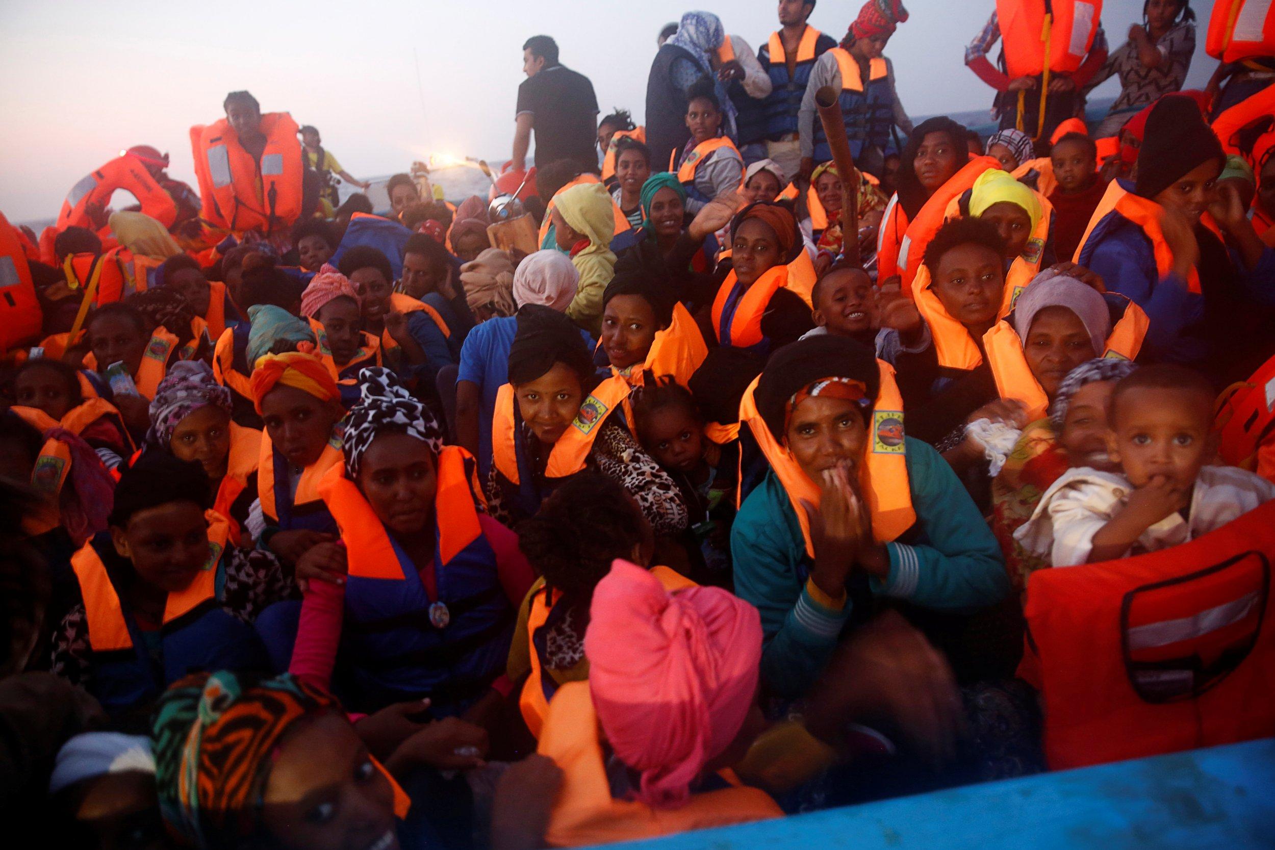 Eritrean migrants in Mediterranean Sea