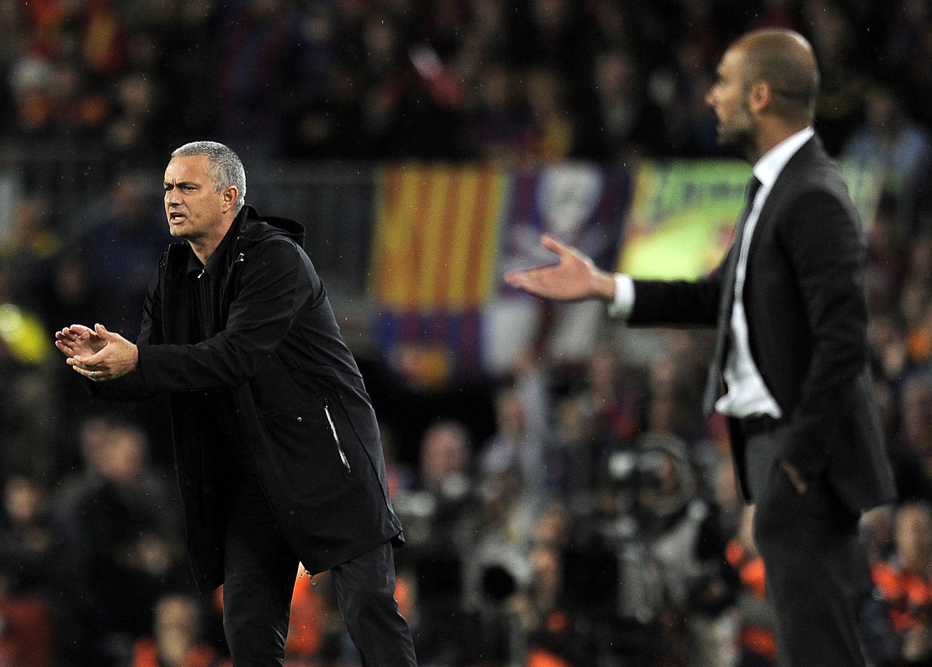 Jose Mourinho, left, with Pep Guardiola