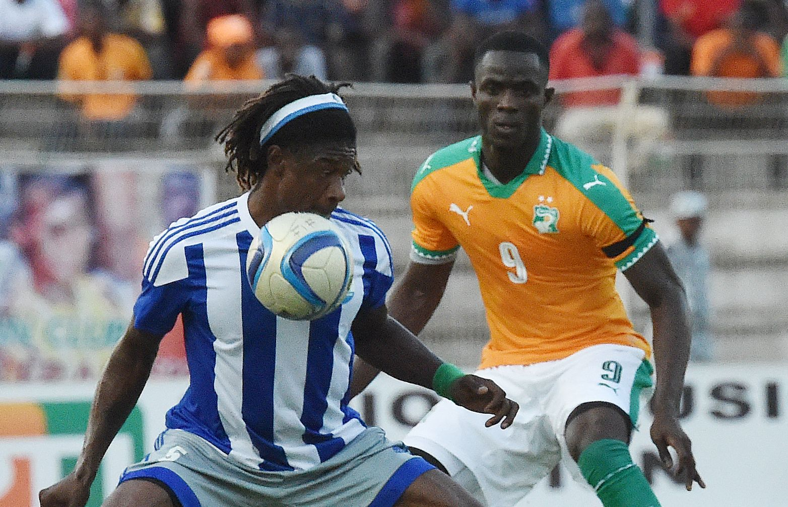 Manchester United and Ivory Coast defender Eric Bailly, right.